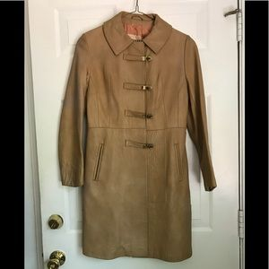 Vintage tan leather English coat